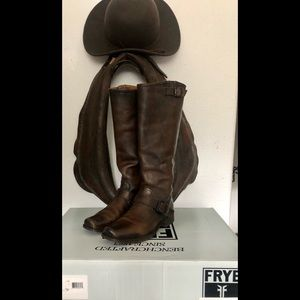 Frye Smith Engineer Tall Brown Boots 8.5